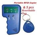 Computadora de mano 125 KHz RFID ID Lector de Tarjetas y Escritor EM4100 Regrabable EM4305 T5577 Duplicadora Copiadora Programador Dispositivo + 5 Envío Tag