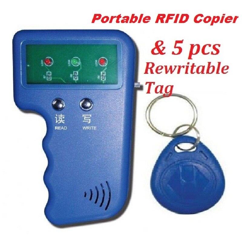 Handheld 125KHz RFID ID EM4100 Card Reader & Writer Duplicator Copier Programmer Device + 5 Free EM4305 T5577 Rewritable Tag handheld 125khz rfid duplicator key copier reader writer id card cloner programmer 5 keys 5pcs rewritable cards em4305 t5577