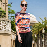 POKWAI Vintage Print Short Heavy Silk Blouse Shirt Women Fashion 2018 New Batwing Sleeve Slash Neck Geometric Chiffon Tops
