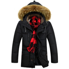 Autumn/Winter Preview Men Raccoon fur collar Parka Silm Fit Jacket Fashion Jaqueta Masculinas Men Thicker Warm Duck Down Jacket