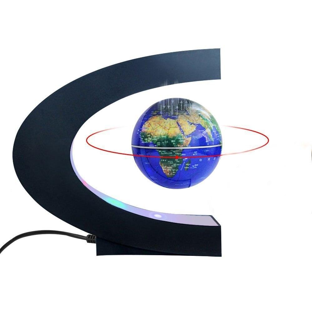 C Shape Magnetic Levitation Floating Globe World Map LED NIight Light for Children, Teaching, Home/Office Desk Decoration Gift creative c shape night light lamp magnetic levitation globe world map with colorful led abajur office desk decoration lighting