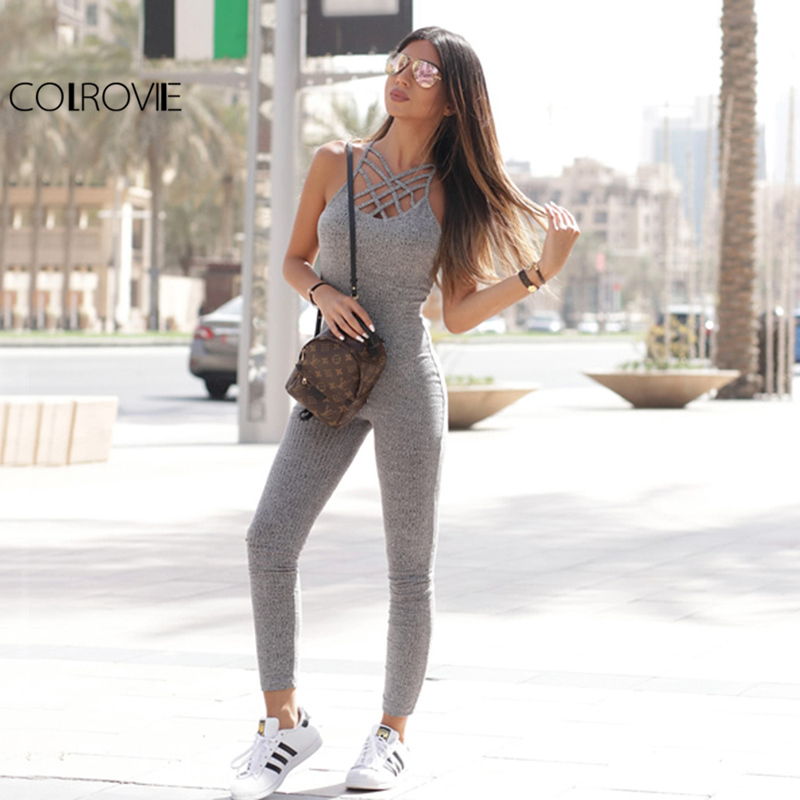COLROVIE Grey Marled Ribbed Jumpsuit Cage Neck Sexy Skinny Women Casual Knit Jumpsuits Fall Cross Strappy Basic Jumpsuit