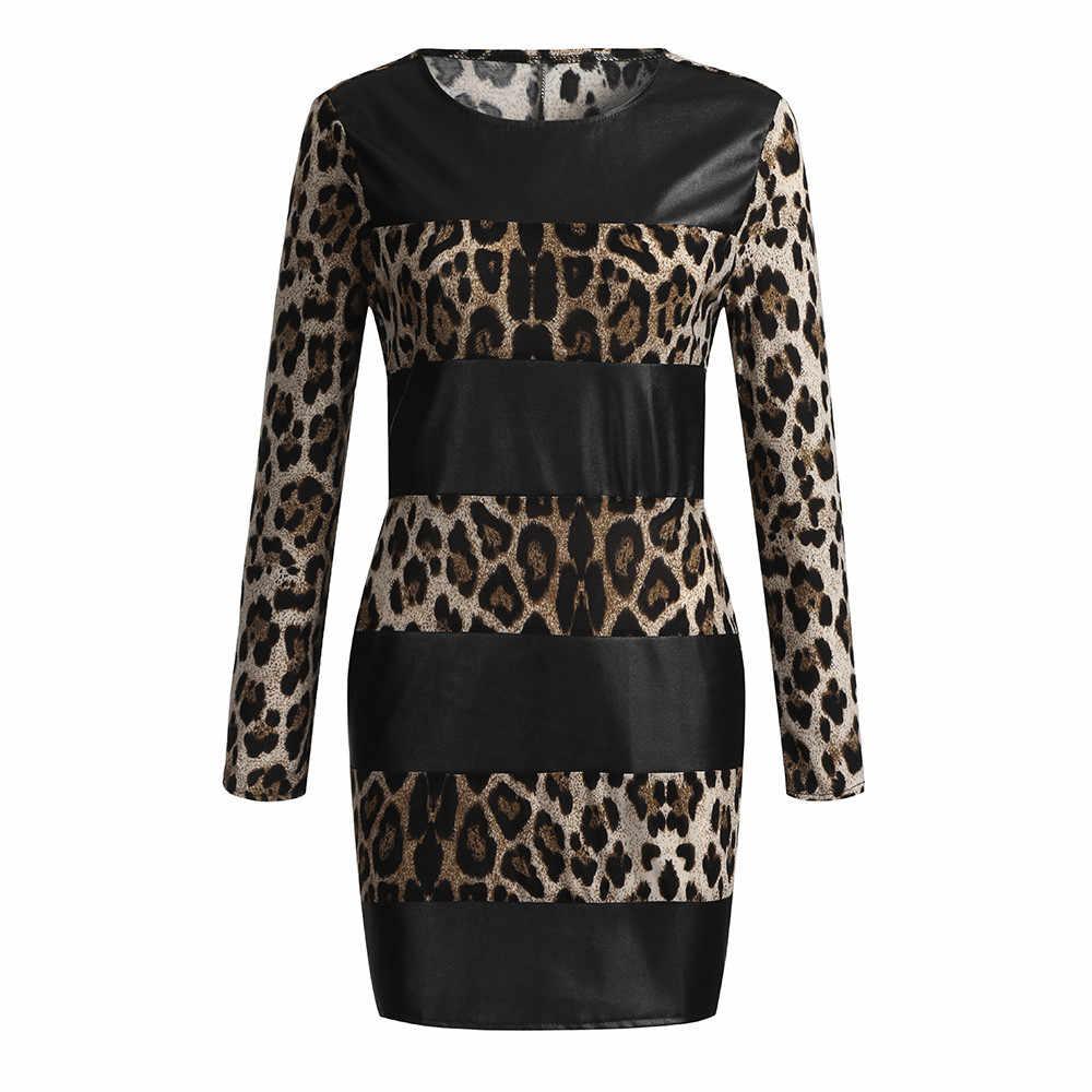 Женское сексуальное платье с леопардовым принтом, с длинным рукавом, с кожаным соединением, Короткие мини-вечерние платья для девушек