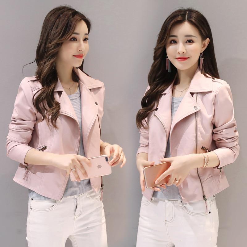 coat baseball Women Spring Fashion Pu   Leather   Jacket Fall Mujer Korean Slim Girl Short Motorcycle   Leather   Jacket veste femme