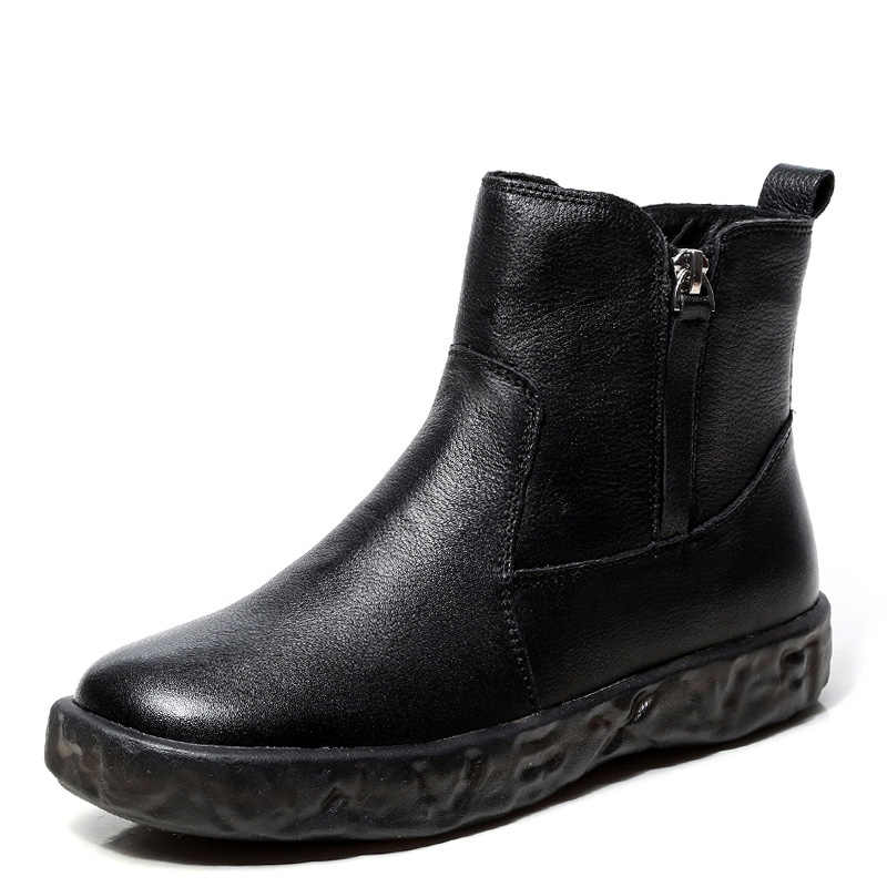Drkanol 2019 Gugur Musim Dingin Dasar Sepatu Bot Wanita Pasang Kaos Mujer Lembut Non Slip Retro Kulit Asli Zipper Tetap Hangat Kapas sepatu