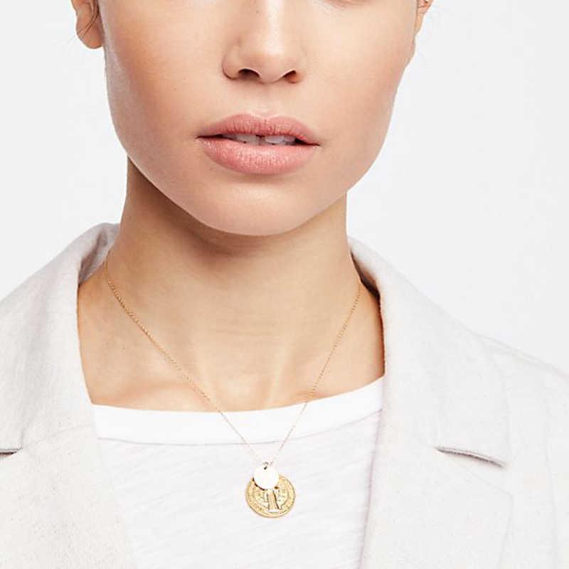 Wild & משלוח חדש בתולה מרי עגול תליון שרשרת זהב-צבע קתולי דתי ישו פאייטים מטבע Pendients שרשרת תכשיטים