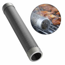 BBQ Stainless Steel Perforated Mesh Smoker Tube Filter Gadget Hot Cold Smoking/A