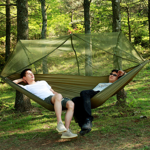 Image 5 - Ultralight Parachute Hammock Hunting Mosquito Net Double Person camping leisure hamak drop shipping Outdoor Furniture Hammock