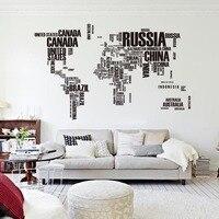 Yaratıcı Poster Mektup Dünya Haritası Duvar Çıkartmaları Alıntı Çıkarılabilir Vinil Sanat Çıkartmaları Mural Oturma Odası Ofis Dekorasyon Ev Dekor