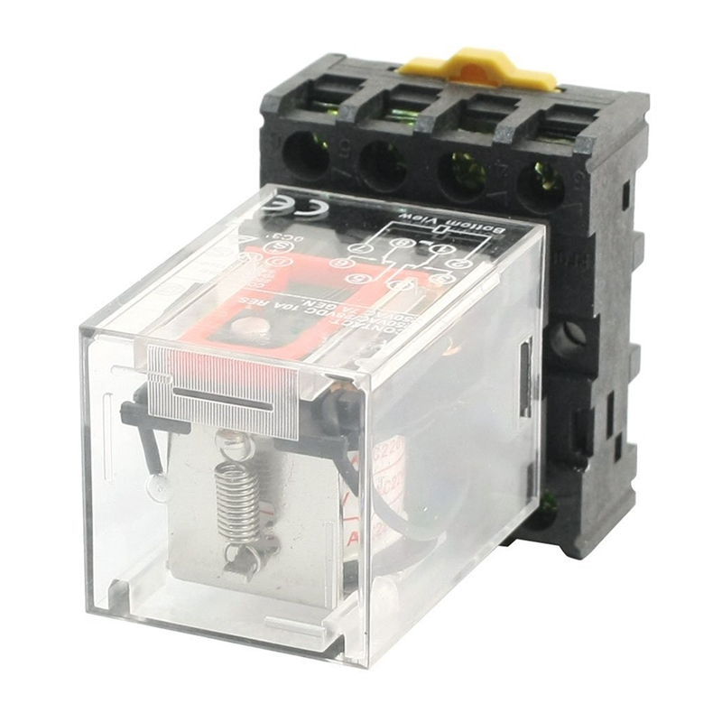 MK2P-I Clear Shell DPDT AC220V Coil Power Relay Socket Base