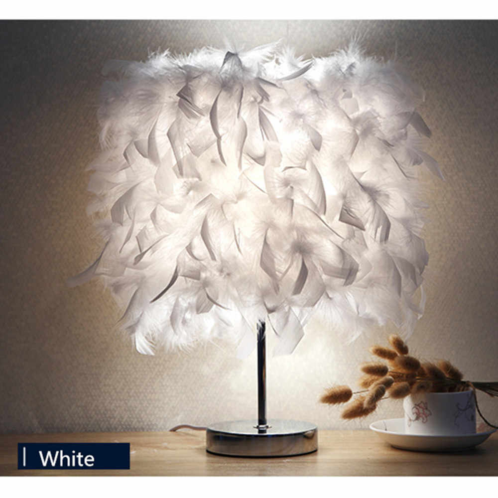 Bedside Reading Room Sitting Room Heart Shape Feather Crystal Table Lamp Light e27 Switch Eye Protection Desk Light