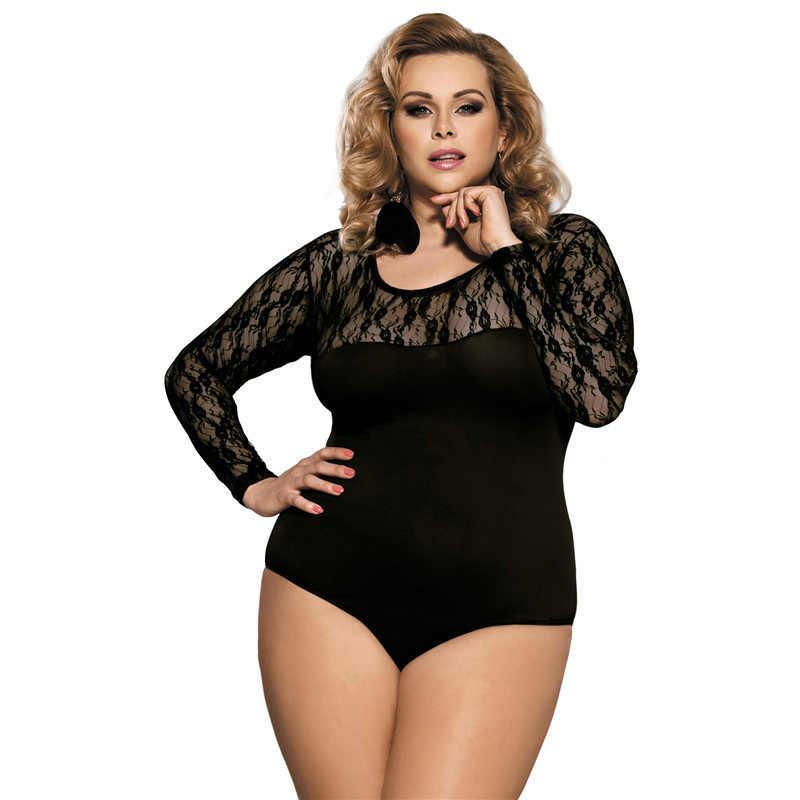 c1ff2c0dcec Romper Women Black O Neck Thin Mesh Bodysuit Sexy Black Bodysuits 3XL 5XL Plus  Size Long