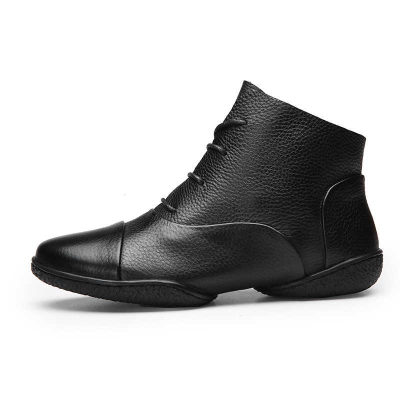 Artı Boyutu 41-42 Yeni Varış yarım çizmeler Ayakkabı Kadın 2019 Hakiki Deri Bayan Botları Dantel-up Yumuşak El Yapımı kadın Ayakkabı