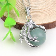 Trendy-beads Vintage Style Silver Plated Green Aventurine Inlay Dragon Claw Pendant Necklace Fashion Jewelry(China)