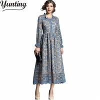 Womens Winter Clothing Lace Patchwork Long Sleeve Long Slim Midi Dress Vestido Midi Elegante