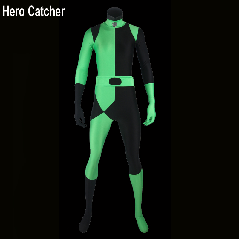 Hero Catcher Kim Possible Shego Costume Female Halloween Costume Lycra Spandex Zentai Suit Shego Cosplay Costumes Custom Made