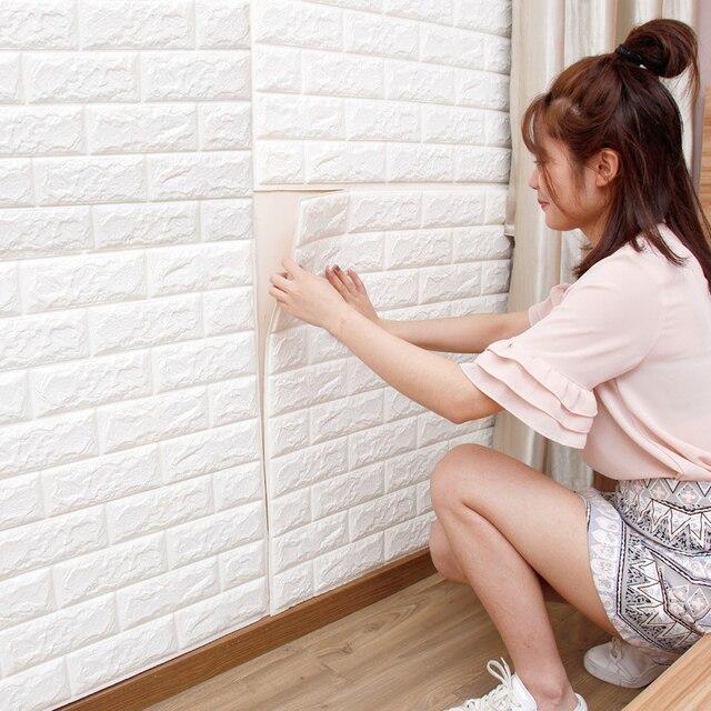1Pcs 3D Wall Stickers Self Adhesive Wallpaper Brick Wall Wall Stickers Home  Decor Bedroom Living Part 75