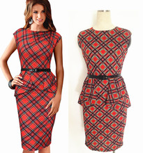 New Womens Vintage Elegant Belted font b Tartan b font Peplum Ruched Tunic Work Party Cap