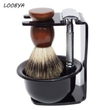 4pc/set Shaving Kit Badger Brush Safety Razor Acrylic Shave Stand and Bowl