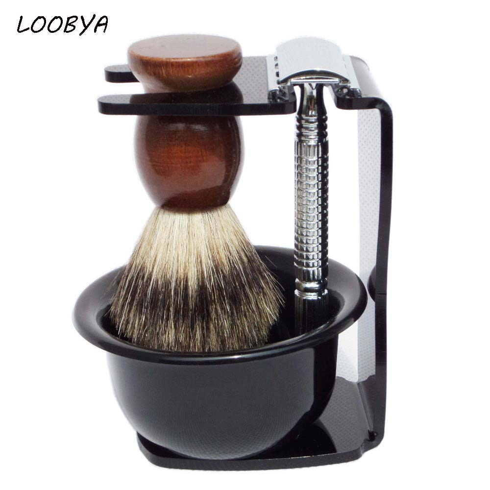 4pc/set Shaving Kit Badger Beard Brush Safety Razor Acrylic Shave Stand Bowl for Man Moustache Care Tool