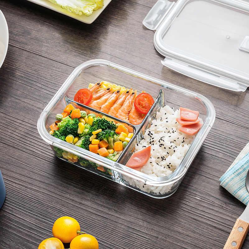 1040 ml De Vidro Caixa De Almoço com 3 Compartimentos Microwavable Preparando A Refeição Vidro Recipiente De Armazenamento De Alimentos-Pressão de Bloqueio Cor Aleatória tampa