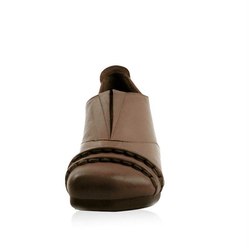 De Dames Mocassins Chaussures Véritable Coffee Xiangban Carrée Mouton Cuir Peau En Femmes Printemps Plat Vintage 2018 Tête Tqwxv7