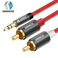 Kabel Audio RCA 2RCA męski na 3.5mm Jack na 2 RCA AUX kabel nylonowy pleciony kabel Splitter do kina domowego iPhone słuchawki