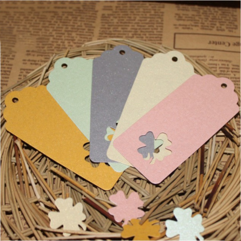 Hot Sale DIY Kraft Paper Tags Colorful Rectangle Clover Lucky Label Luggage Wedding Party Hang Tag Kraft