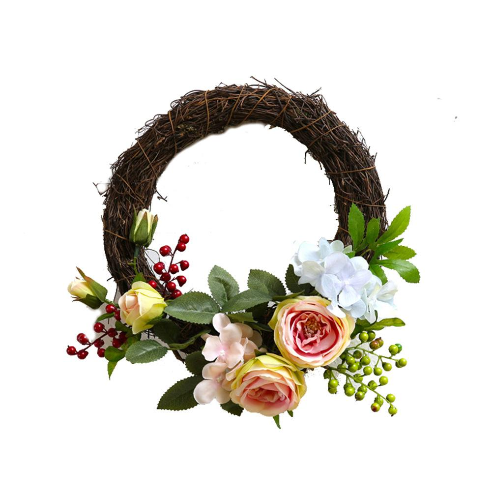 Simulation Décoration Home Decoration Simulated Artificial Garland Handmade Simulation Rose Wreath Door Wreath Garland Door Trim Wedding Party Decor
