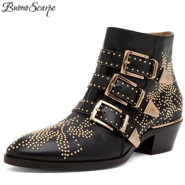 BuonoScarpe Zapatos Mujer Susanna Studded prawdziwe skórzane botki okrągły nosek nit kwiat Martin buty kobiety luksusowe aksamitne buty