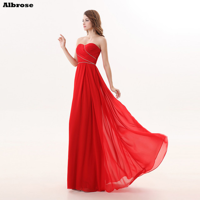 c0187e982f Red Beach Bridesmaid Dresses Cheap Simple Bridesmaid Dress Long Pleat  Crystal Sweetheart Formal Party Gown Chic Women Gowns
