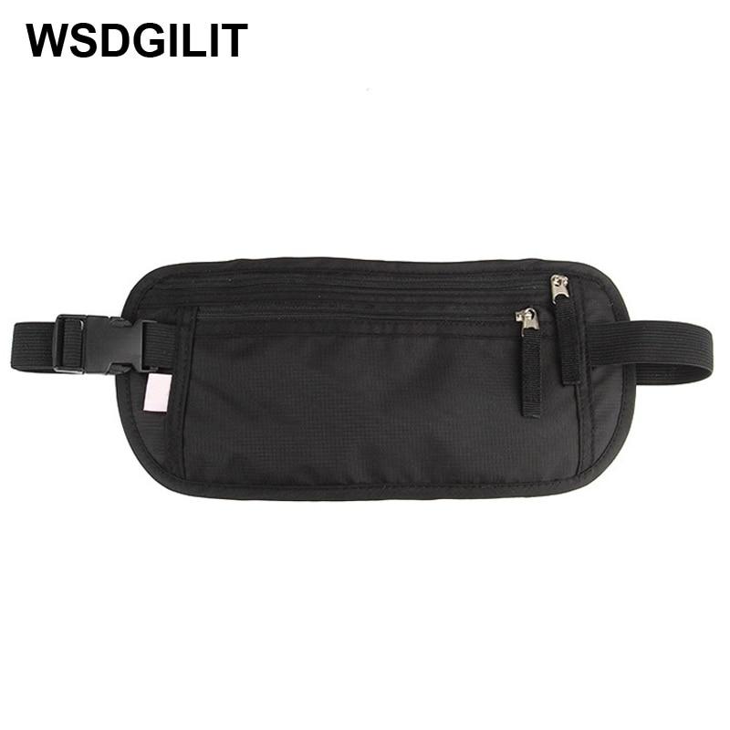 Travel Tas Pinggang Tahan Air Fanny Pack Undercover Belt Bag Paspor Pemegang Aman Tersembunyi RFID Dompet Kantong Mengubah Tas Tali Aman