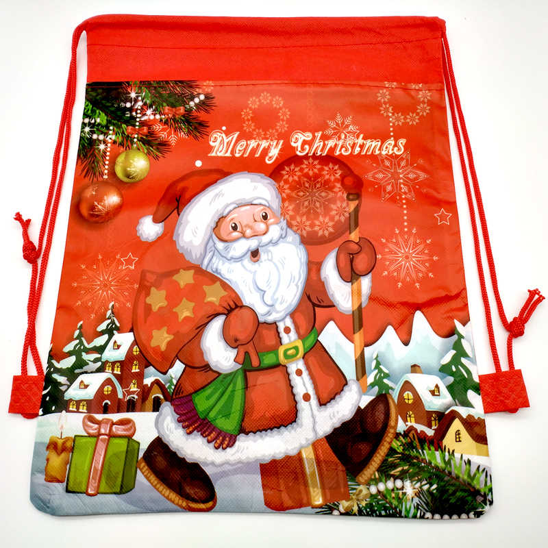 Kids Girls Boys Favors Merry Christmas Party Mochila Decoration Red Blue Drawstring Gifts Bags Santa Claus Design Backpack 1PCS
