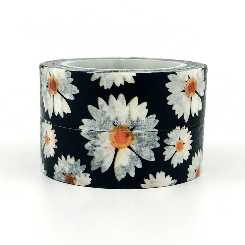 15mm X 10m Cute Beautiful White Flower on Black Decorative Washi Tape Paper DIY Scrapbooking Masking Tape School Office Supply 4 0cm beautiful watercolor japanese irregular shape flower petal decorative washi tape beautiful decorative sticker masking tape