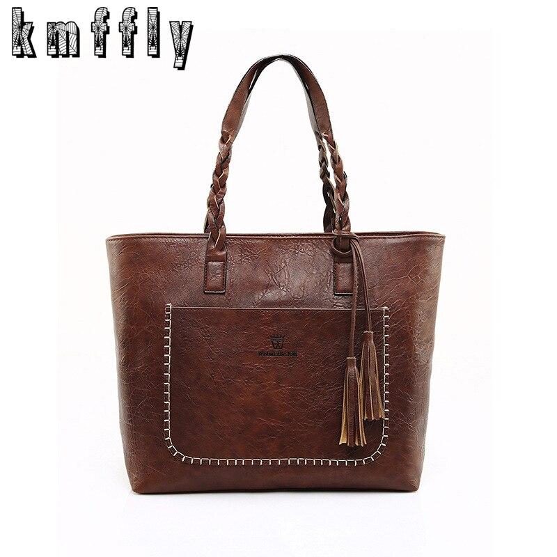 Kmffly marca de lujo las mujeres bolso de hombro de cuero suave tophandle Bolsas señoras borla bolso de mano diseñador mano Bolsas