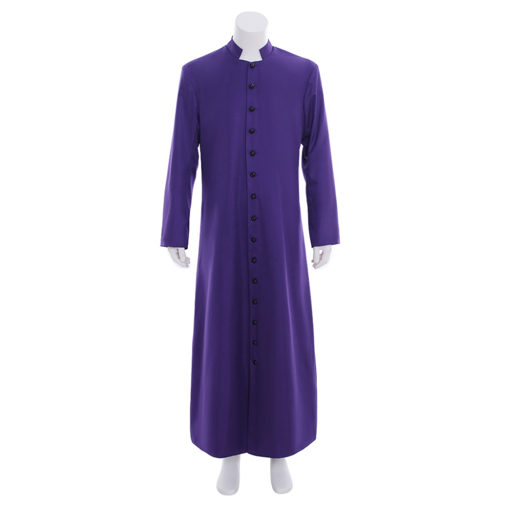 Cosplaydiy Custom Made Unisex Adult's Clergy & Pulpit Cassock Roman Purple Cassock Robe Liturgical Vestments Any Size L320