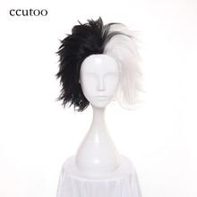 Ccutoo peluca sintética de capas cortas, Mitad negro y blancas, 101 Dálmatas, traje de Cruella, Cosplay del Diablo