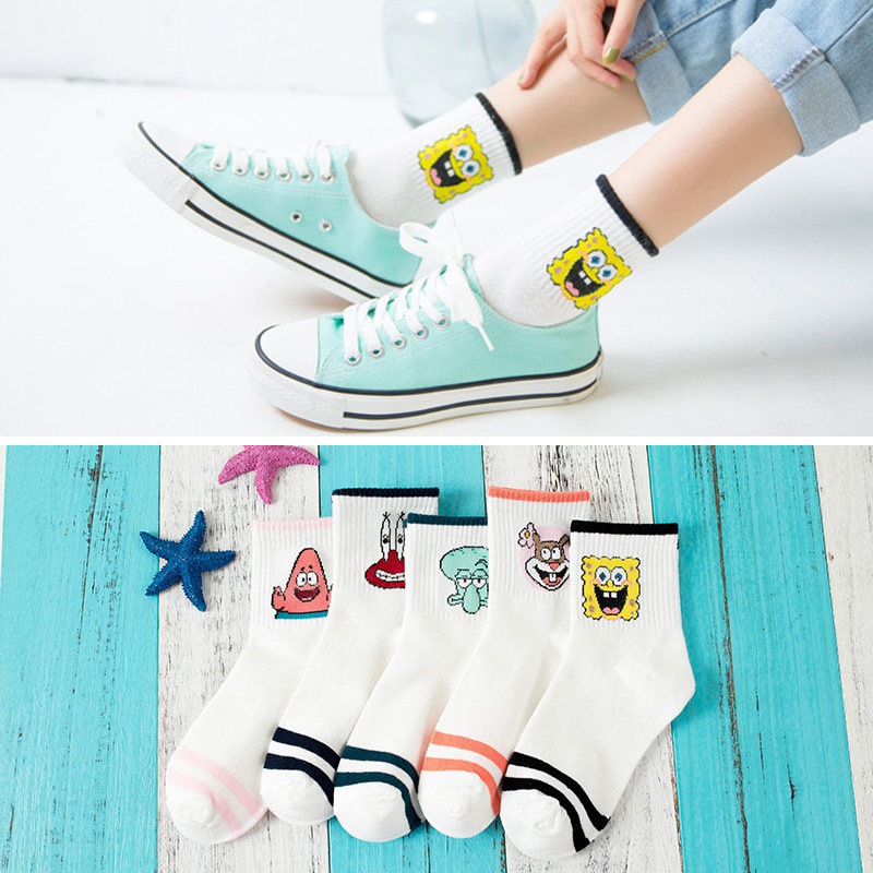 Women Socks Cotton Cartoon Character Cute Short Socks Woman Harajuku Cute Patterned Female Funny Ankle Socks Female Casual Soft
