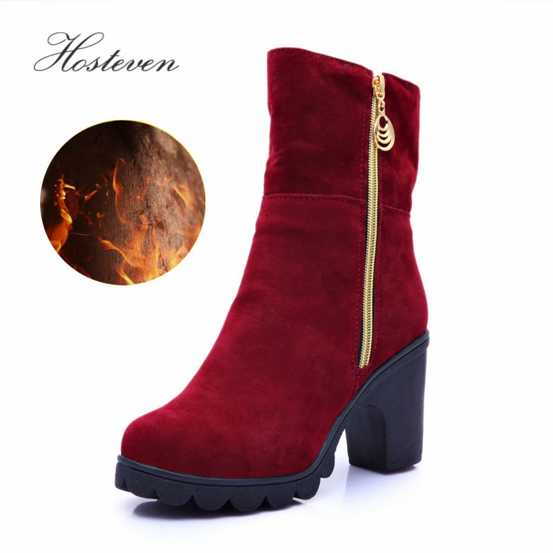 Hosteven Women Snow Boots Plush Fur Casual Fashion Winter Autumn Warm Mother Ladies Students Cotton Female Turned Over Shoes