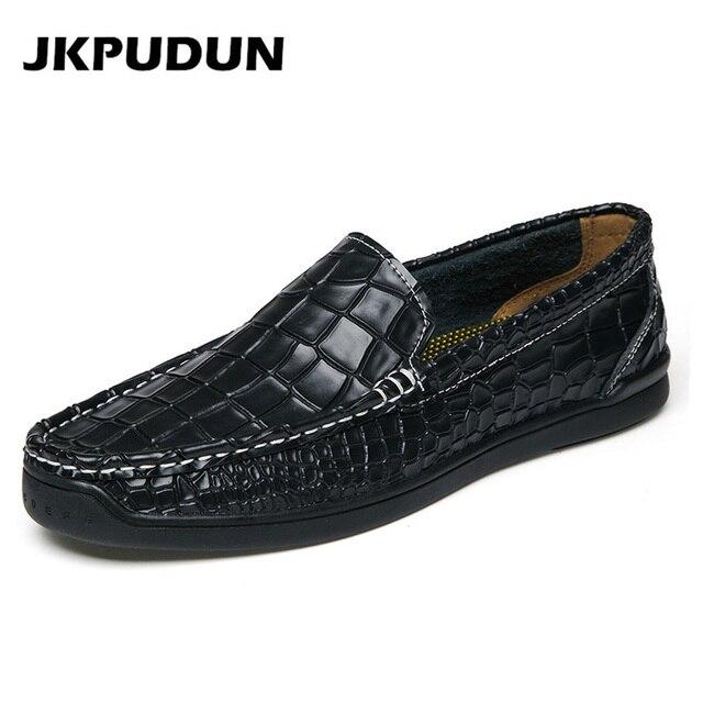 JKPUDUN Mens Shoes Casual Brand Genuine Leather Black Loafers Luxury  Designer Crocodile Shoes Men High Quality Moccasins For Men