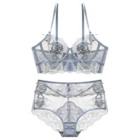New Gather Adjusted Thin Cup Lingerie Bra Set Underwear Transparent Temptation Sexy Bra Set For Women