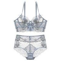 New Gather Adjusted Thin Cup Lingerie Bra Set Underwear Transparent Temptation Sexy Bra Set For Women