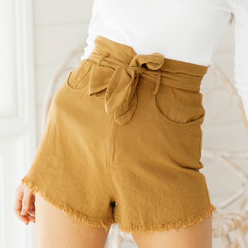 Conmoto Solid Bow Summer 2019 Women   Shorts   Pocket Belt Tie Sexy   Shorts   Burr Casual High Waist Famale   Shorts