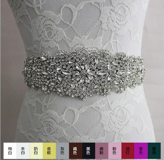 2016 luxury fashion Rhinestone adornment Belt Wedding Dress accessories Belt 100% hand-made best selling XW61 Bridal Sashes