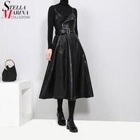 New 2019 Women Faux Leather Black Midi Sexy Sleeveless Dress Belt A Line Spaghetti Strap Elegant Party Club Wear Dress Robe 3014