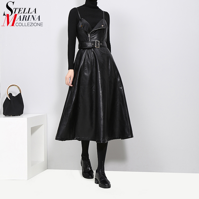 Nouveau 2019 femmes Faux cuir noir Midi Sexy sans manches Robe ceinture a-ligne Spaghetti sangle élégant fête tenue de club Robe Robe 3014