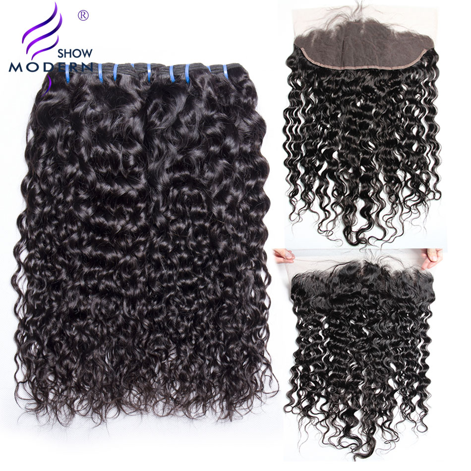 Peruvian Water Wave Lace Frontal Closure with Bundles Modern Show Human Hair Bundles with Closure Non Remy Hair Weave Extensions