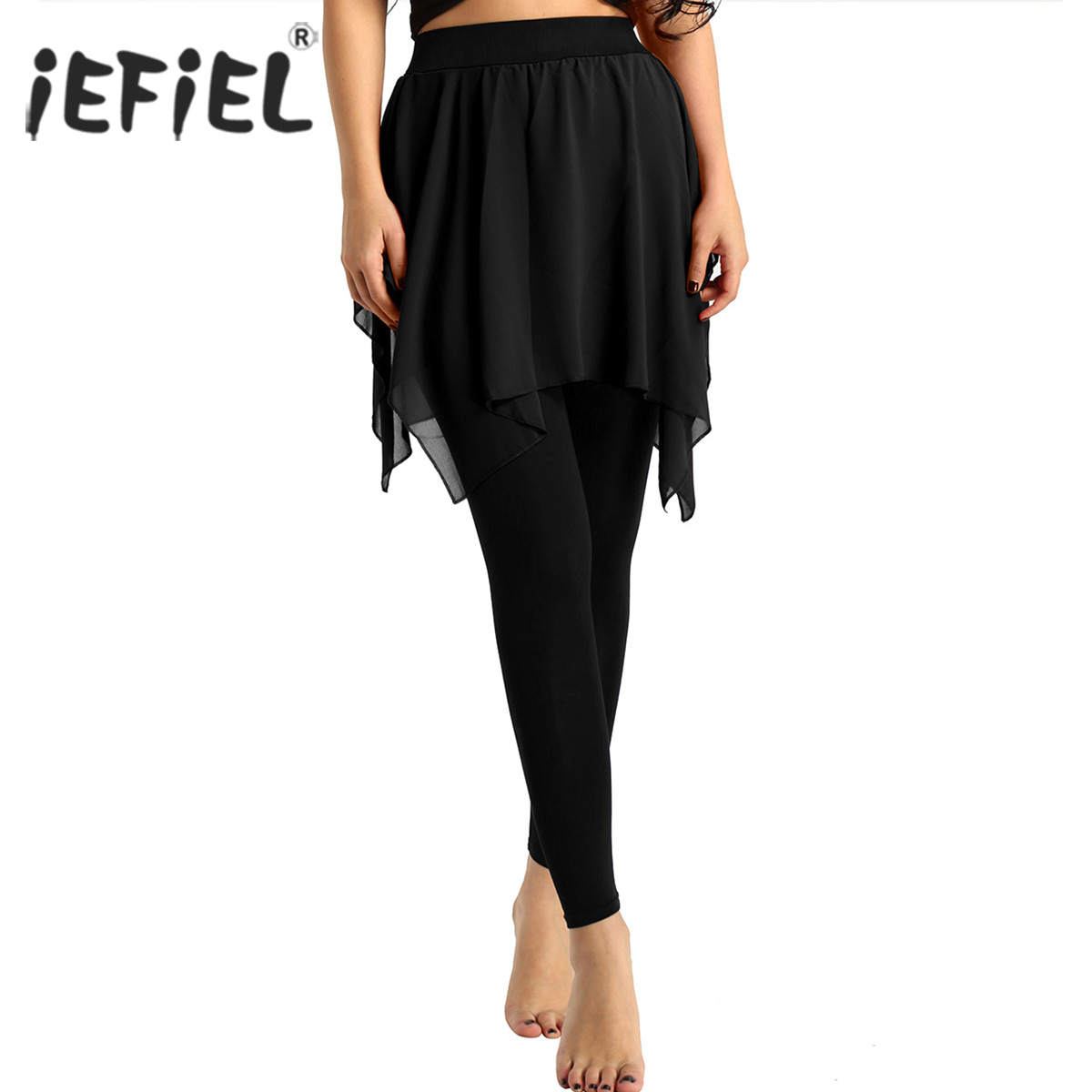 iEFiEL Womens Flowy Cropped Length Footless Leggings with Skirt Latin Pantskirt Adult Costume Gymnastics Leotard Dancewear