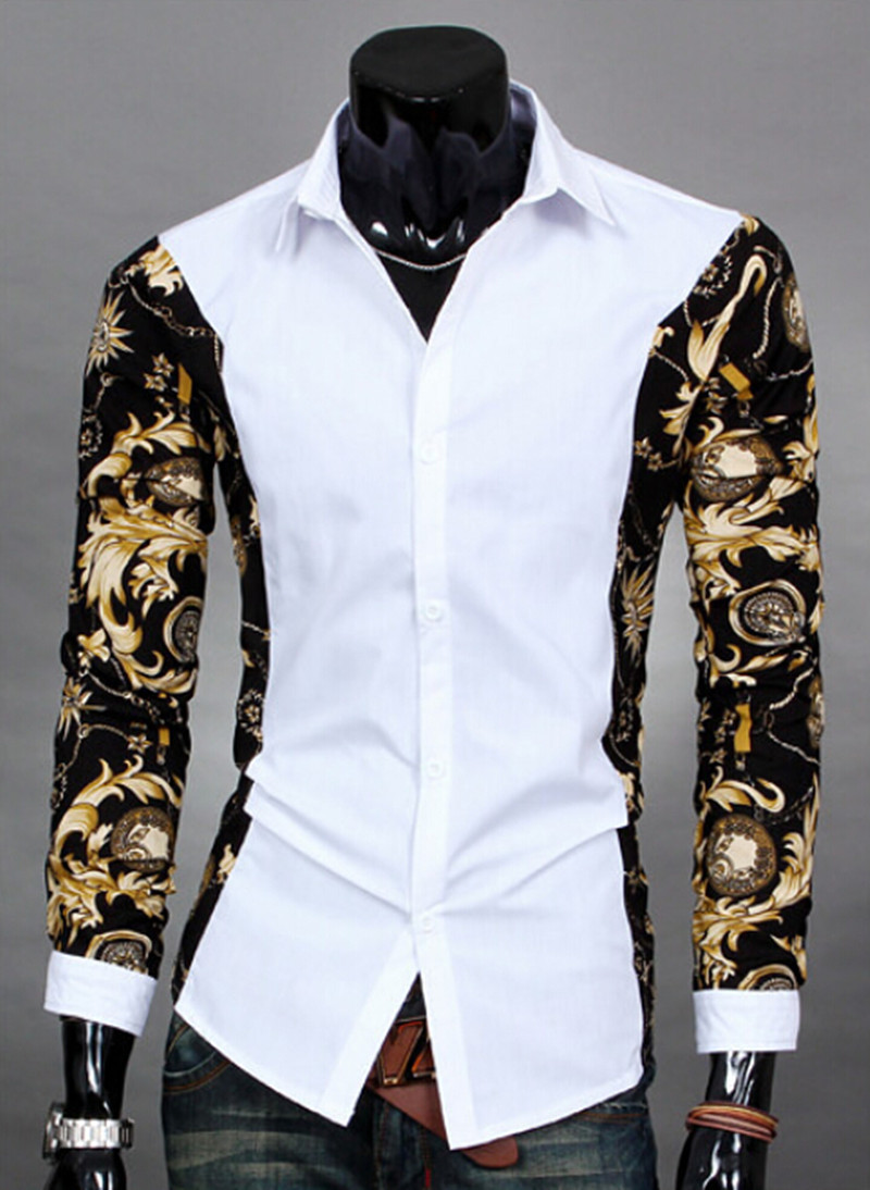 Aliexpress.com : Buy 2014 New Printed Camisa Masculina Fashion ...