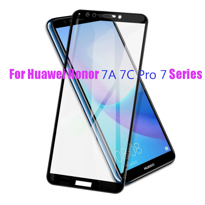 3D Full Cover Glass For Huawei Honor 7A Pro 7C 5.45 5.7 5.99 Inch Protector For Huawei Y5 Y6 Y7 Y9 Prime 2018 2019 Full Glue